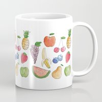 fruits Mugs featuring Fruits by SunnyAndStormy