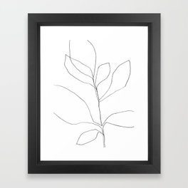 Seven Leaf Plant - Minimalist Botanical Line Drawing Framed Art Print