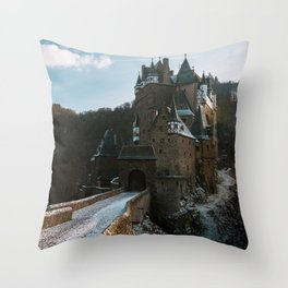 Fairytale Castle in a winter forest in Germany - Landscape and Architecture Throw Pillow