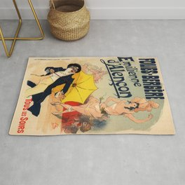 Folies Berg Res Emilienne D Alen On 1900 By Jules Cheret | Reproduction Art Nouveau Rug