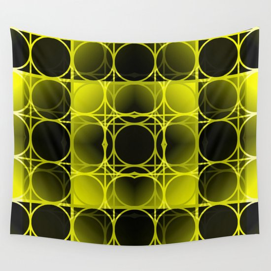 Circles, Grids and Shadows in Black and Yellow Wall Tapestry