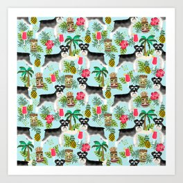 Schnauzer tiki pattern floral hibiscus floral flower pattern palm leaves Art Print