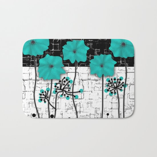 Turquoise flowers on black and white background . Bath Mat