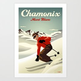 Chamonix Ski Poster Art Print
