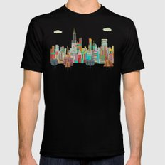 Chicago city (summer days) Mens Fitted Tee Black MEDIUM