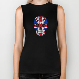 Sugar Skull with Roses and the Union Jack Flag Biker Tank
