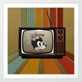 fallout Dismay cartoon on vintage tv Art Print