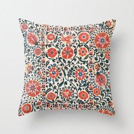 Shakhrisyabz Suzani  Uzbekistan Antique Floral Embroidery Print Throw Pillow