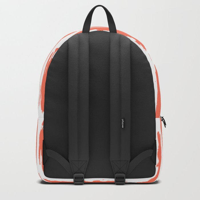 Vertical Dash Deep Coral on White Backpack