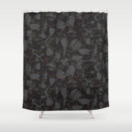 Elegant Marble Stone Texture Black & White Shower Curtain