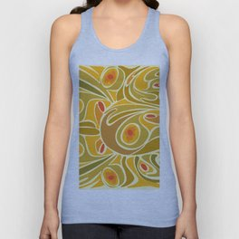 Rooster pattern in Yellow Goldenrod Unisex Tank Top