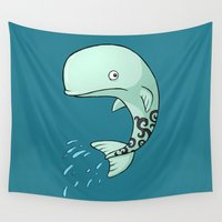 the whale Wall Tapestries featuring Whale by Freeminds