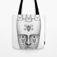 skulls Tote Bags featuring Skulls by Lou Patrou