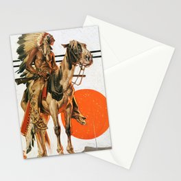 Joseph Christian Leyendecker - Indians And Bonfire - Digital Remastered Edition Stationery Cards