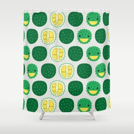 Dotty Durians II - Singapore Tropical Fruits Series Shower Curtain