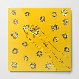 Miss Daisies in Yellow Metal Print