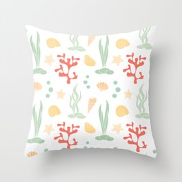 cute summer pattern background with seashells, corals and starfishes Throw Pillow