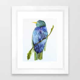 Blue Bird Watercolor Illustration Framed Art Print