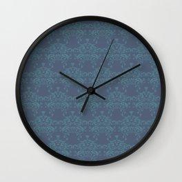 Vintage teal blue elegant floral damask Wall Clock
