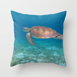 Turtle cove green turtle Throw Pillow