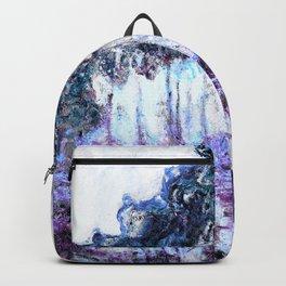 Monet : Poplars Lavender Periwinkle Deep Blue Backpack