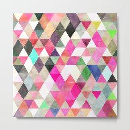 Boho, Geometric Watercolor Metal Print