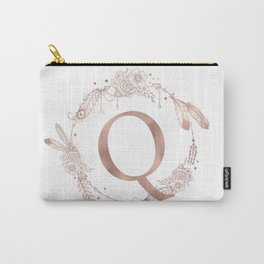 Letter Q Rose Gold Pink Initial Monogram Carry-All Pouch