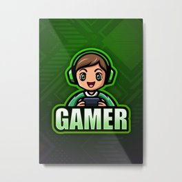 GAMER BOY Green Video Game Player Metal Print