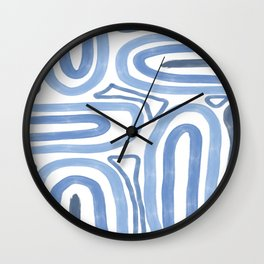 Sea Blue Curved Doodle Wall Clock