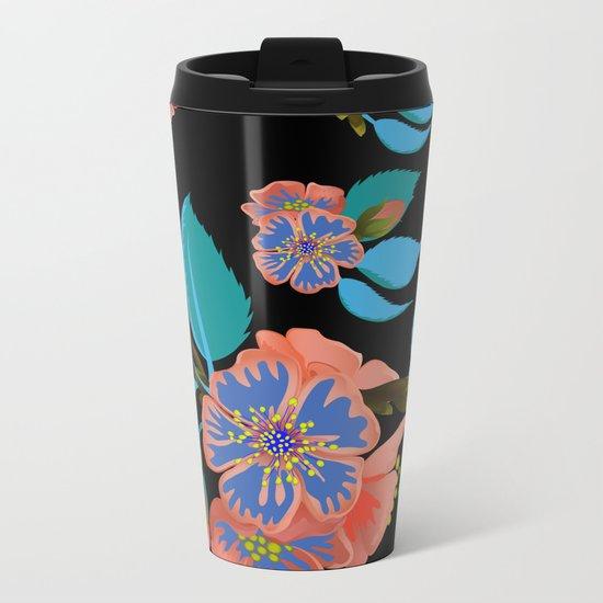 tas.color flower pattern Metal Travel Mug
