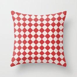 Red and White Checkered Diamond Pattern Throw Pillow