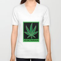 vegetarian V-neck T-shirts featuring Vegetarian Marijuana Leaf by BudProducts.us