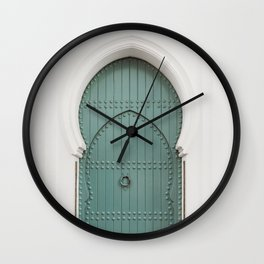 Doors of Morocco   Mint door in a white wall in Asilah photography print Wall Clock