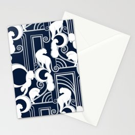 Deco Gatsby Panthers // navy and silver Stationery Cards