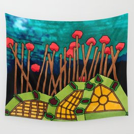 Bent Saplings Nature Center Architectural Illustration Wall Tapestry