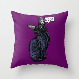 Anything But Meow Throw Pillow