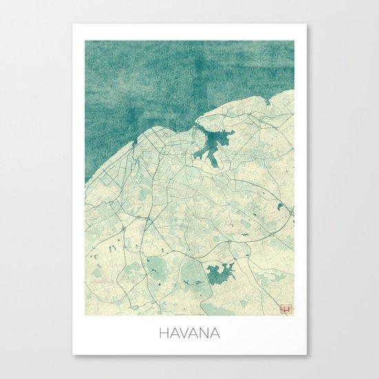 Havana Map Blue Vintage Canvas Print