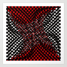black white red 3 Art Print