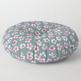 Loose pink flowers pattern in green background Floor Pillow