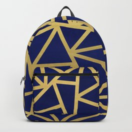 Blue and Gold Geometric Triangles Art Deco Backpack