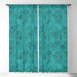 Turquoise Beautiful Art Magenta Deco Marble Shimmer Mermaid Scales Gold Trim Seamless Pattern Blackout Curtain