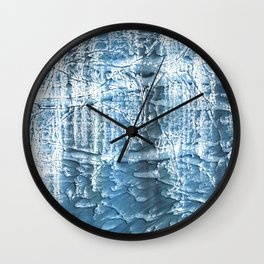 Steel blue nebulous wash drawing paper Wall Clock