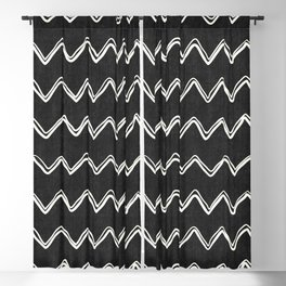 Moroccan Horizontal Stripe in Black and White Blackout Curtain