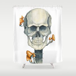 Skull and mushrooms growing on it Shower Curtain