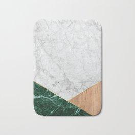 Geometric White Marble - Green Granite & Wood #138 Bath Mat