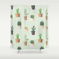 succulents Shower Curtains featuring Succulents  by Tasteful Tatters