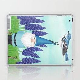 gnome with cerulean warbler and grape hyacinths Laptop & iPad Skin