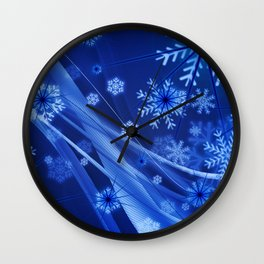 Blue Snowflakes Winter Wall Clock