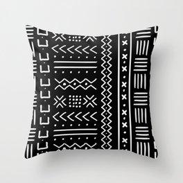 Black hand drawn mudcloth Throw Pillow