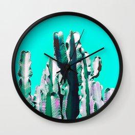 Majestic Cactus - Aqua Wall Clock
